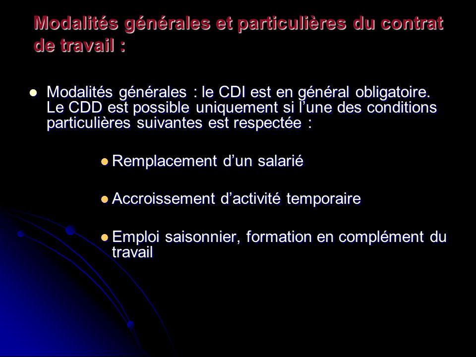 Modalités générales et particulières du contrat de travail :