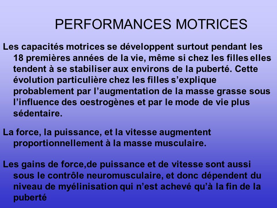 PERFORMANCES MOTRICES