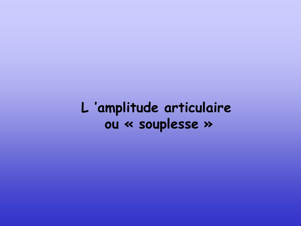 L 'amplitude articulaire