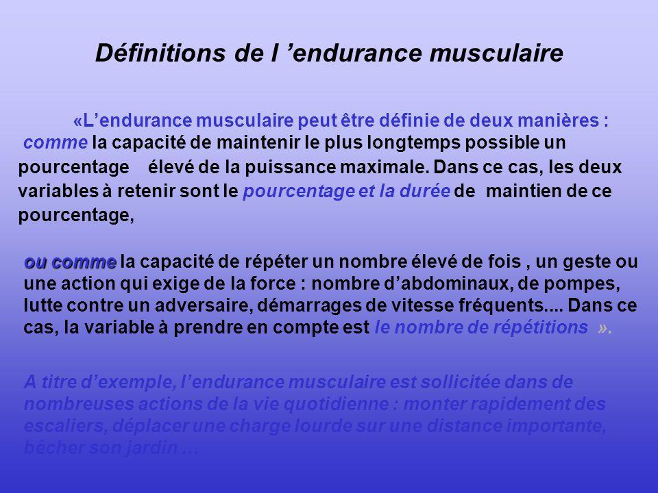 Définitions de l 'endurance musculaire