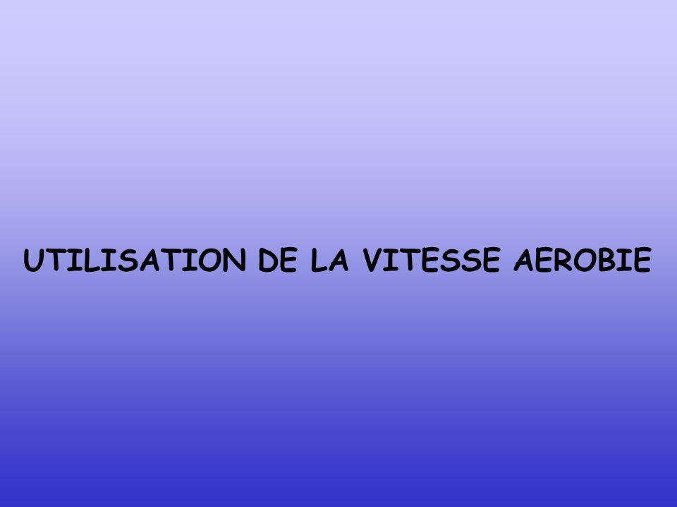 UTILISATION DE LA VITESSE AEROBIE