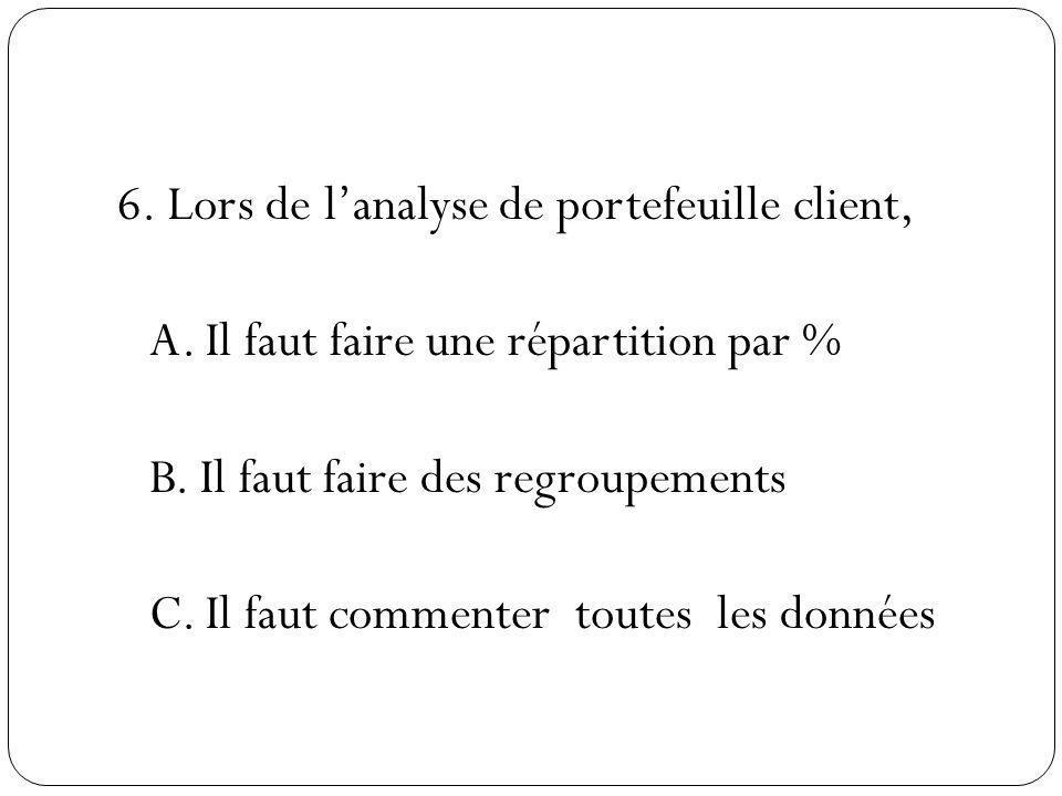 6. Lors de l'analyse de portefeuille client, A