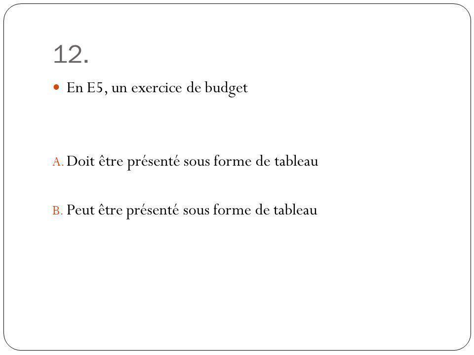 12. En E5, un exercice de budget