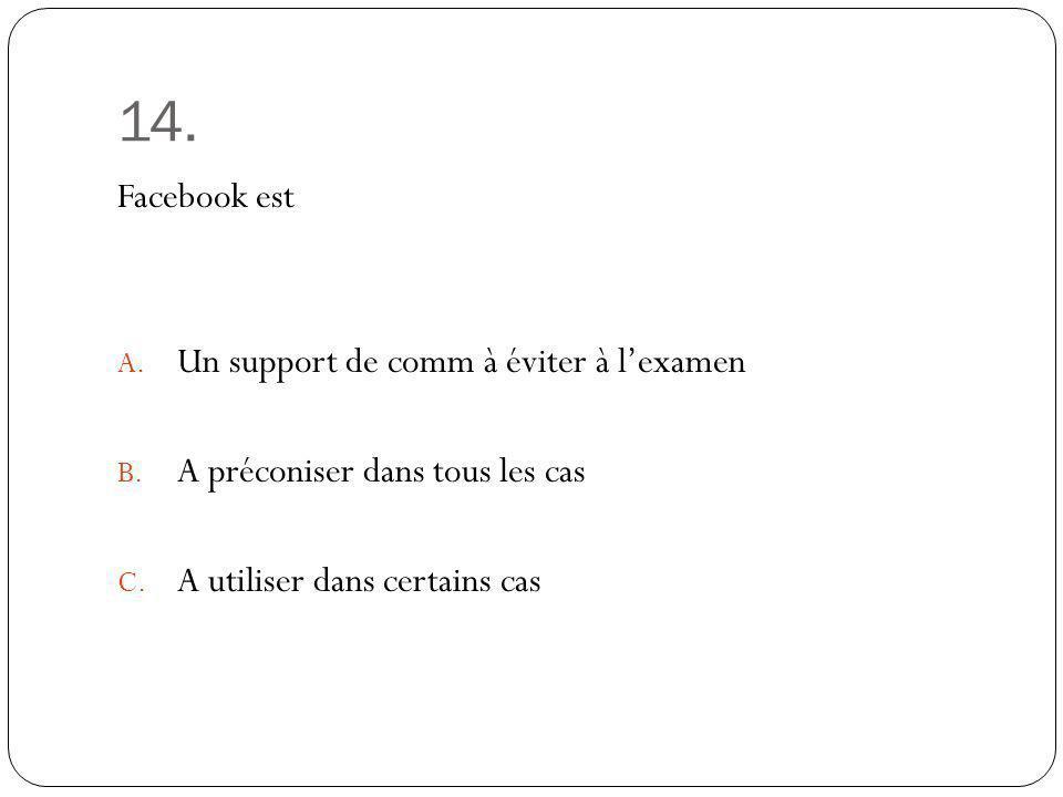 14. Facebook est Un support de comm à éviter à l'examen