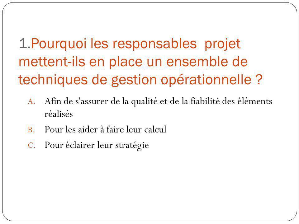 1.Pourquoi les responsables projet mettent-ils en place un ensemble de techniques de gestion opérationnelle