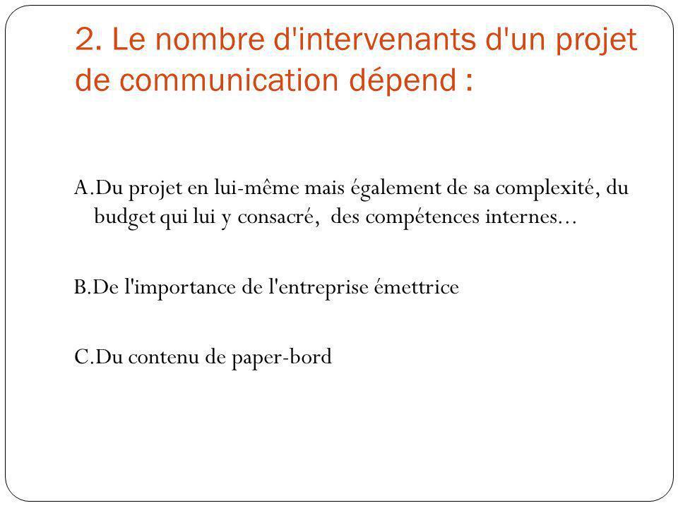 2. Le nombre d intervenants d un projet de communication dépend :