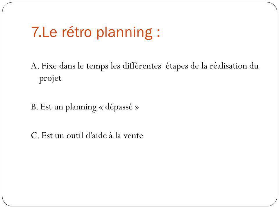 7.Le rétro planning : A. Fixe dans le temps les différentes étapes de la réalisation du projet. B. Est un planning « dépassé »