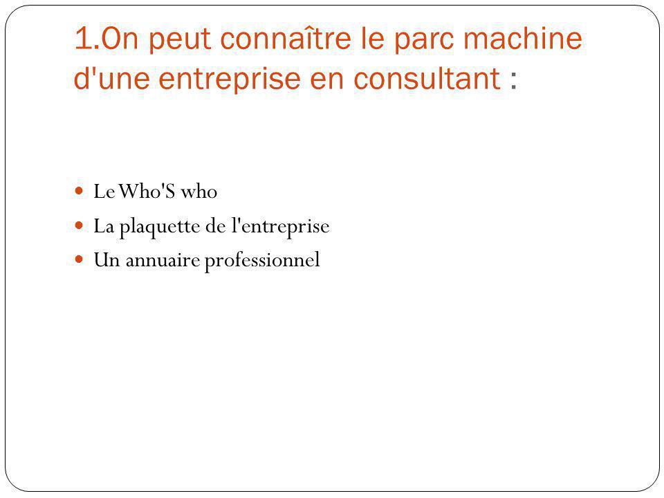 1.On peut connaître le parc machine d une entreprise en consultant :