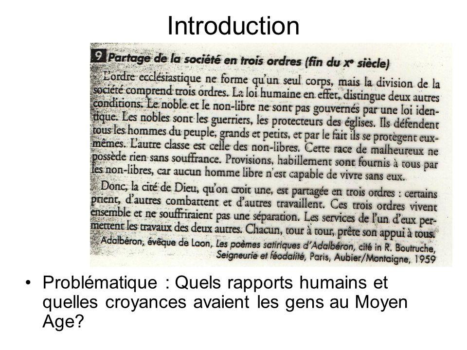 Introduction Problématique : Quels rapports humains et quelles croyances avaient les gens au Moyen Age