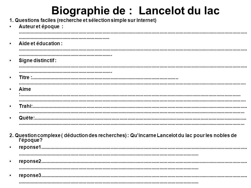 Biographie de : Lancelot du lac