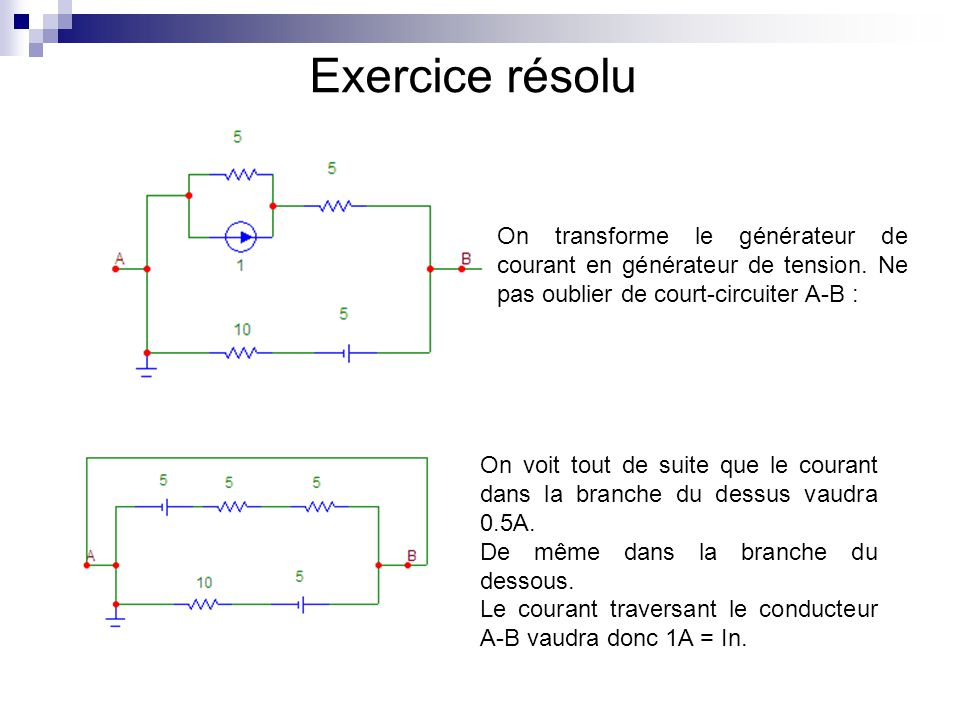 Exercice résolu On transforme le générateur de courant en générateur de tension. Ne pas oublier de court-circuiter A-B :