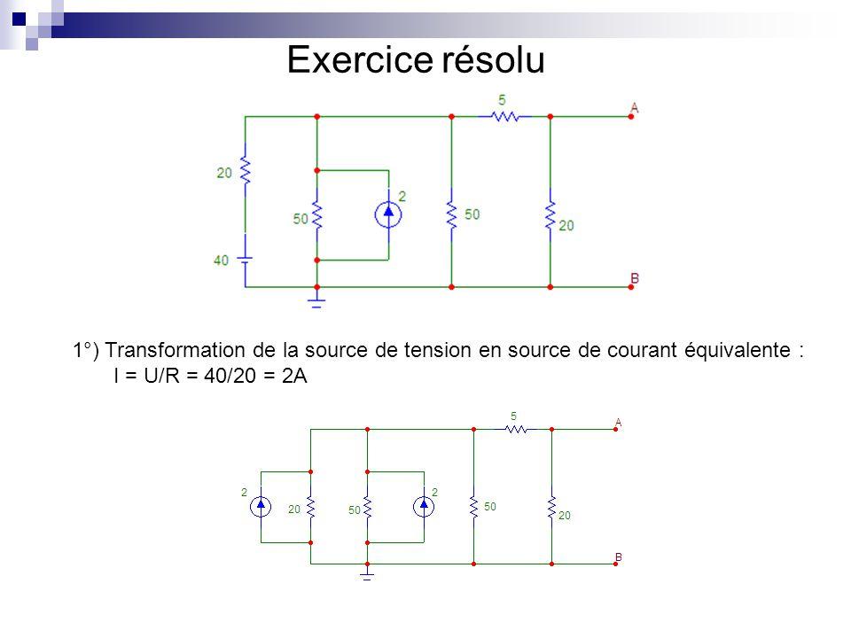Exercice résolu 1°) Transformation de la source de tension en source de courant équivalente : I = U/R = 40/20 = 2A.