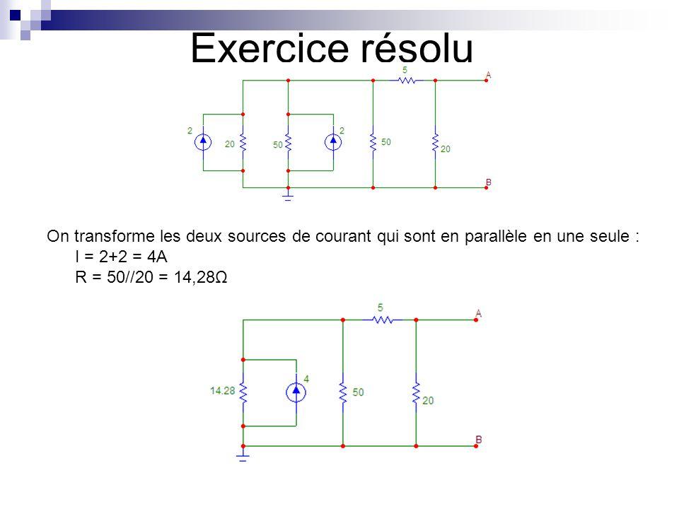 Exercice résolu On transforme les deux sources de courant qui sont en parallèle en une seule : I = 2+2 = 4A.