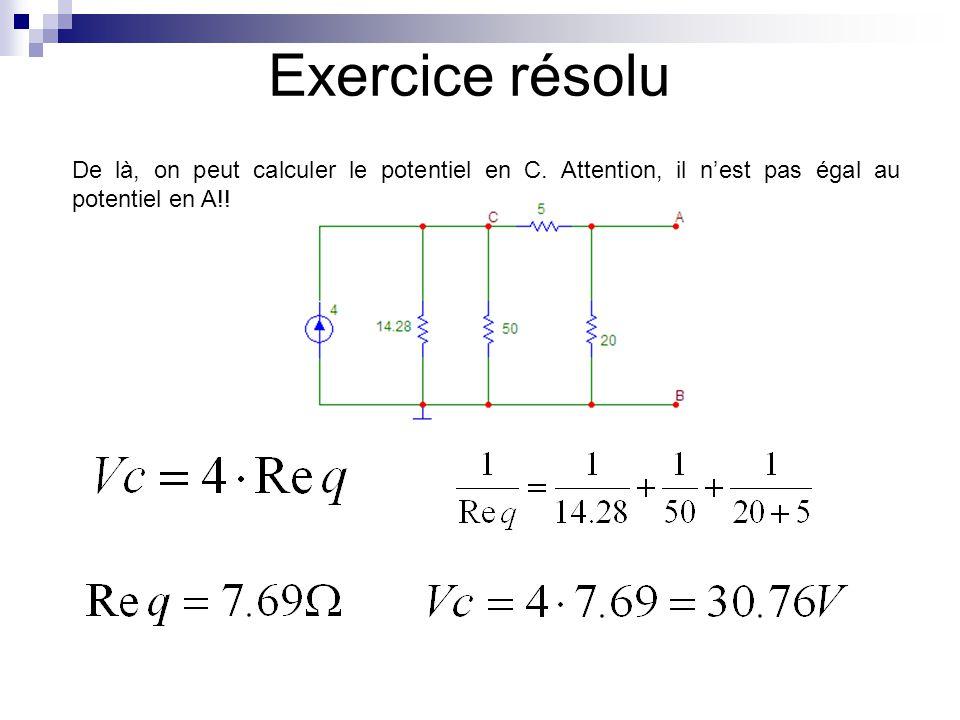 Exercice résolu De là, on peut calculer le potentiel en C.