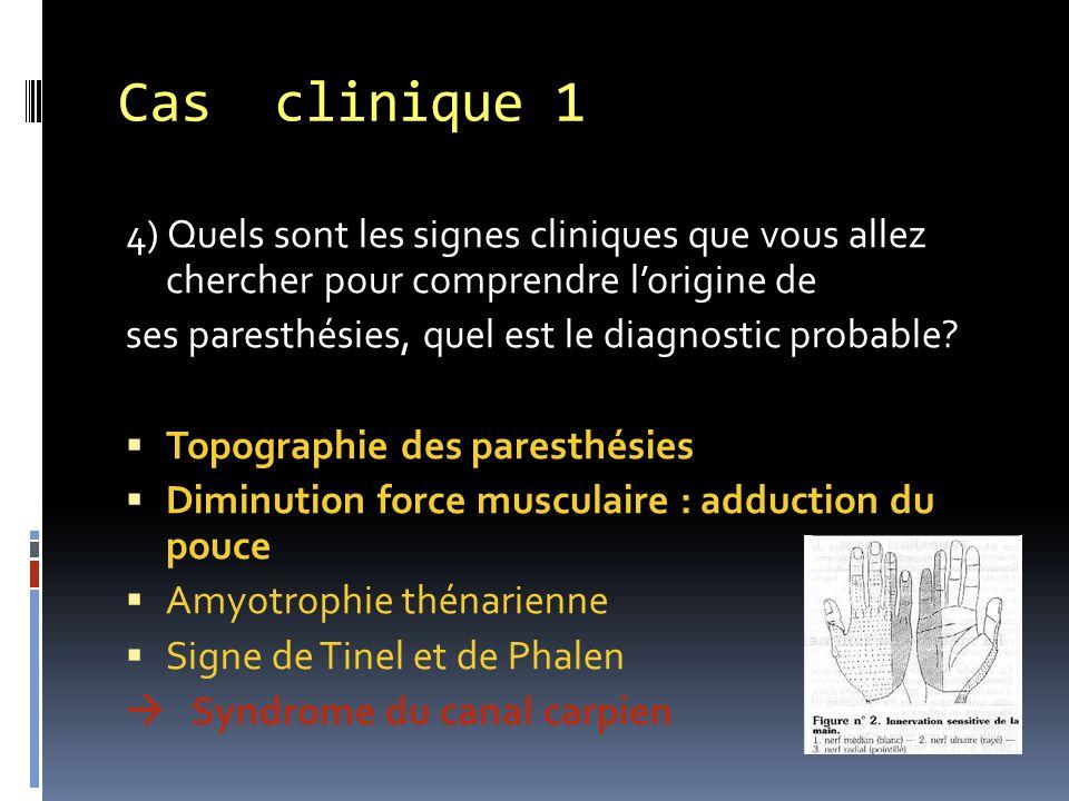 Cas clinique 1 4) Quels sont les signes cliniques que vous allez chercher pour comprendre l'origine de.
