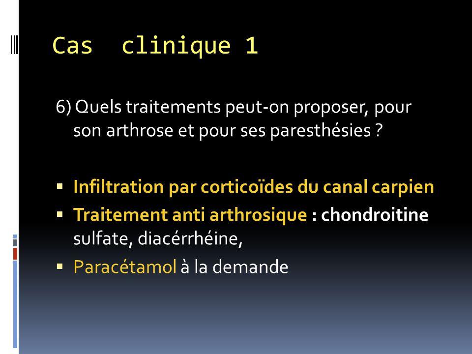 Cas clinique 1 6) Quels traitements peut-on proposer, pour son arthrose et pour ses paresthésies