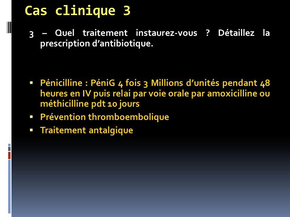 Cas clinique 3 3 – Quel traitement instaurez-vous Détaillez la prescription d'antibiotique.