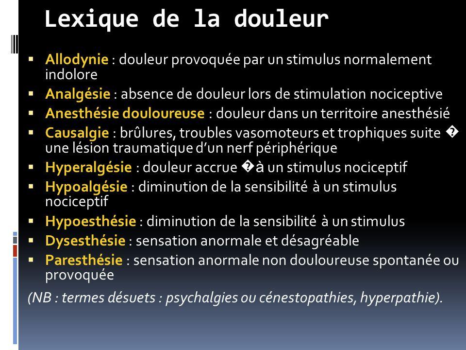 Lexique de la douleur Allodynie : douleur provoquée par un stimulus normalement indolore.