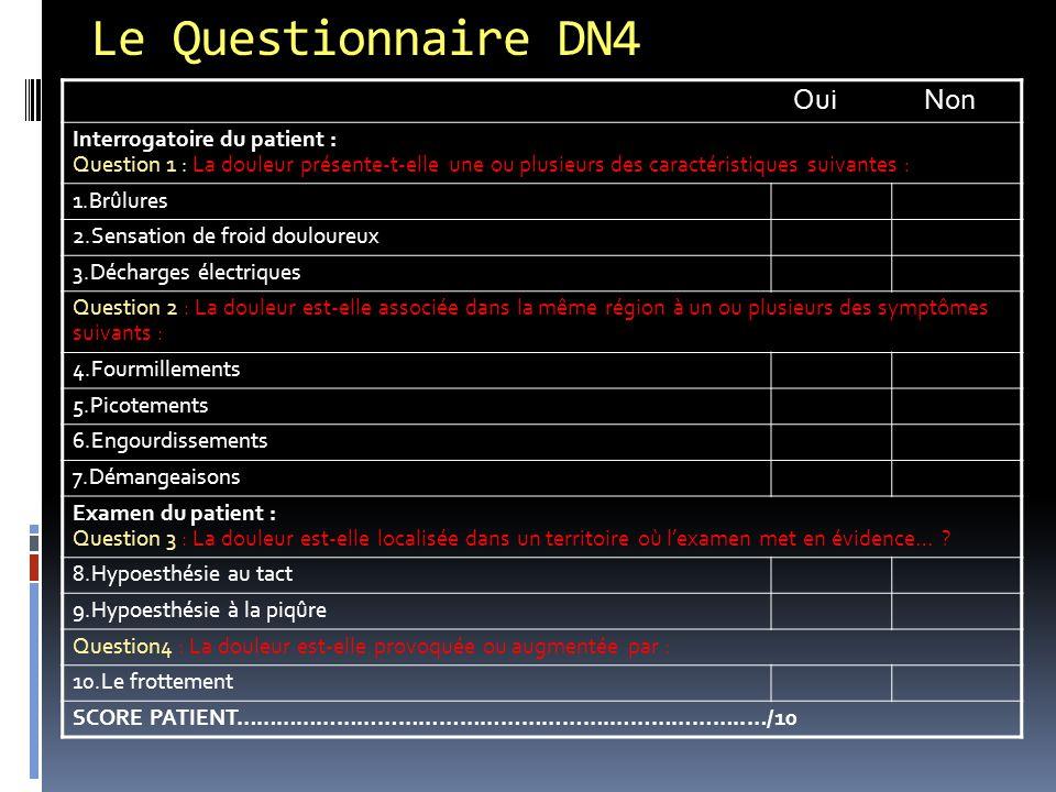 Le Questionnaire DN4 Oui Non Interrogatoire du patient :