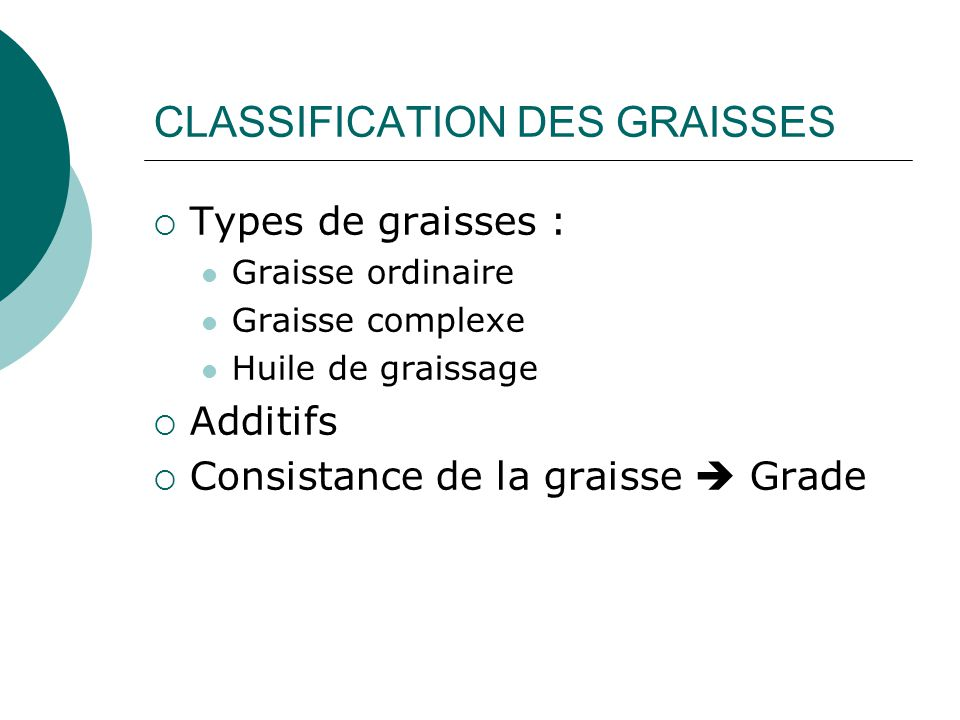 CLASSIFICATION DES GRAISSES