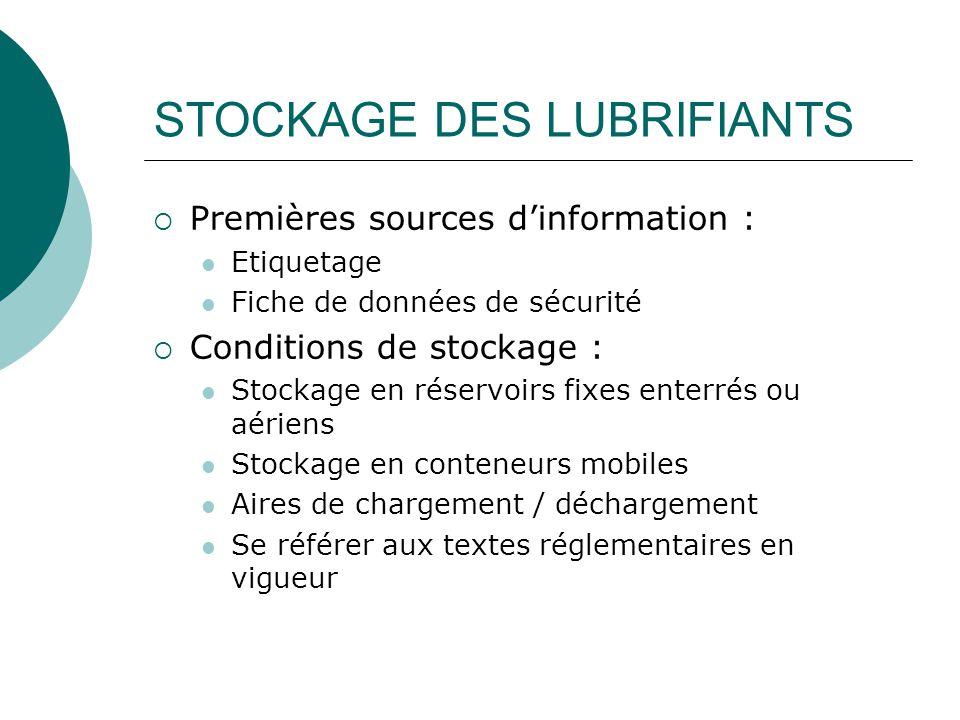 STOCKAGE DES LUBRIFIANTS