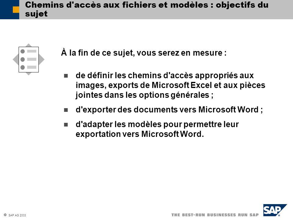 Chemins d accès aux fichiers et modèles : objectifs du sujet