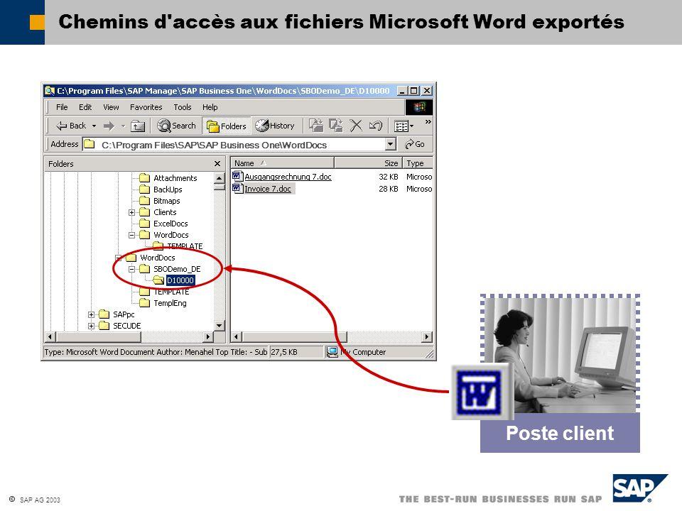 Chemins d accès aux fichiers Microsoft Word exportés