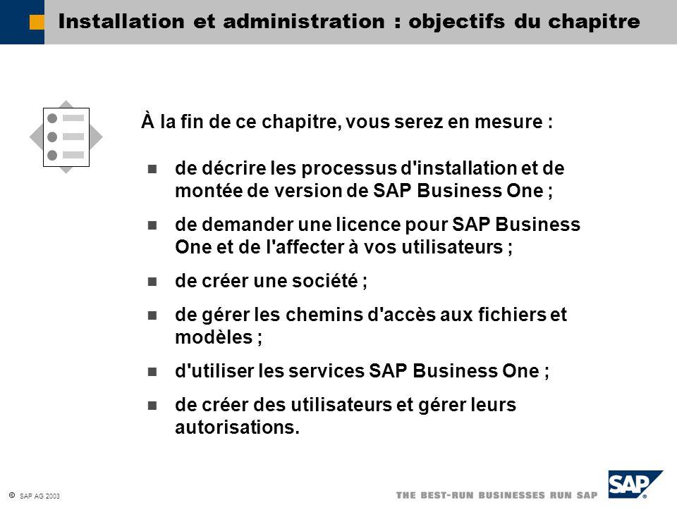 Installation et administration : objectifs du chapitre