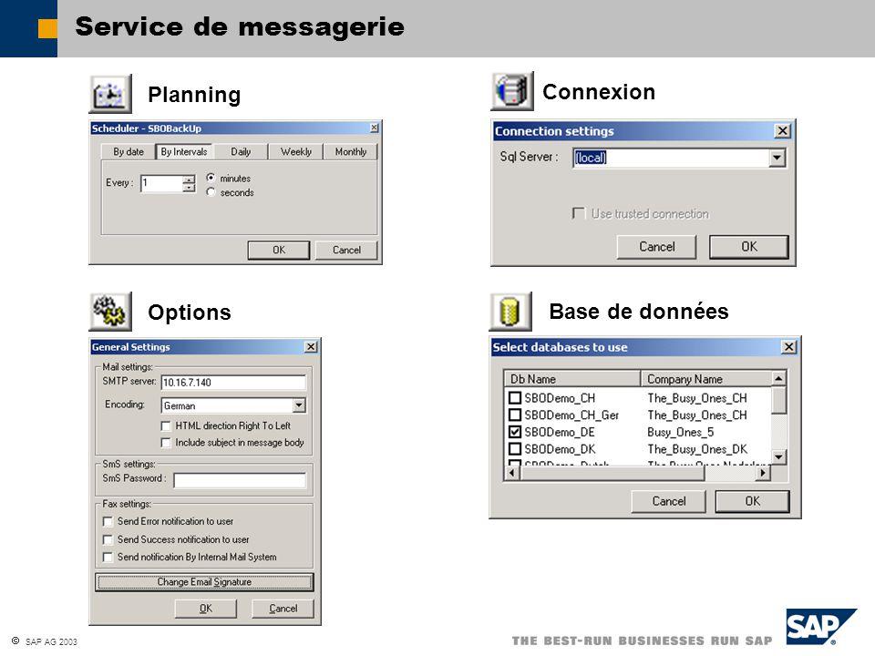 Service de messagerie Planning Connexion Options Base de données