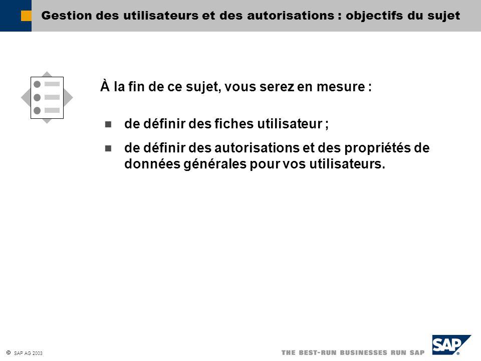 Gestion des utilisateurs et des autorisations : objectifs du sujet