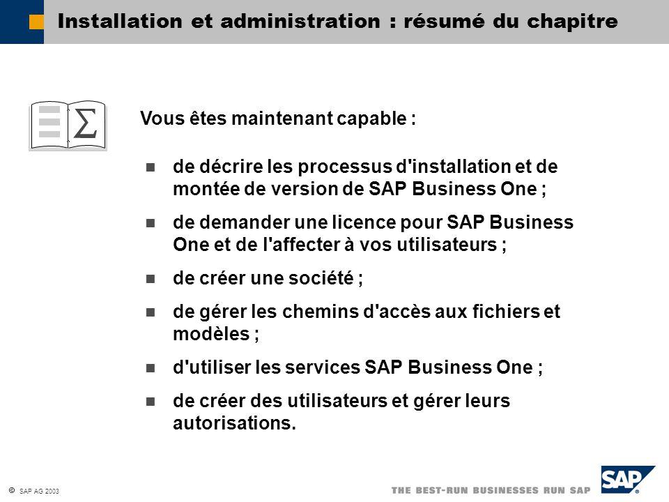 Installation et administration : résumé du chapitre