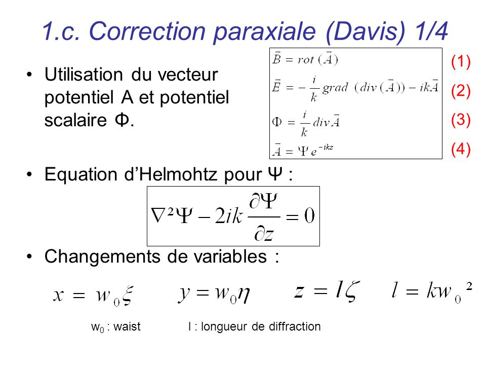 1.c. Correction paraxiale (Davis) 1/4