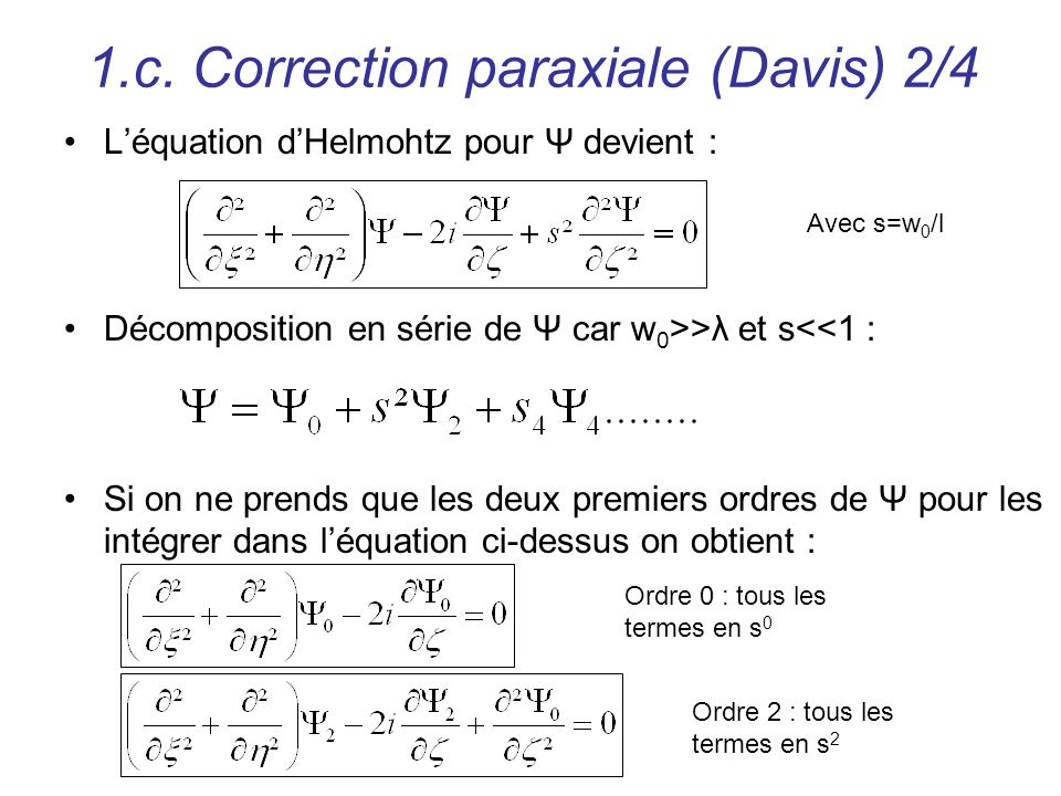 1.c. Correction paraxiale (Davis) 2/4