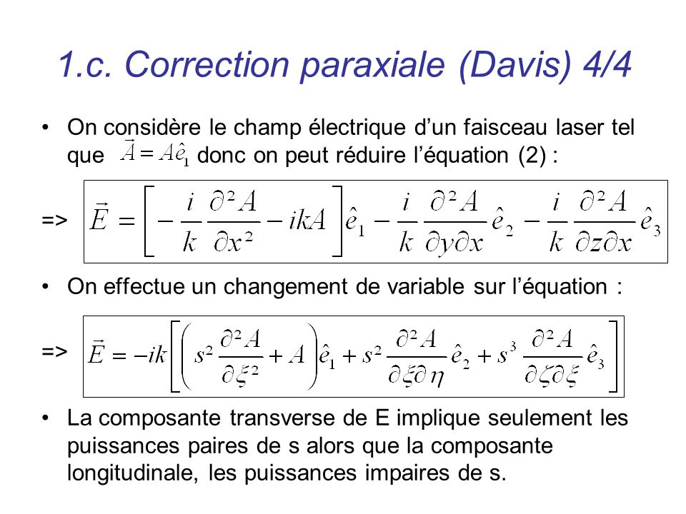 1.c. Correction paraxiale (Davis) 4/4