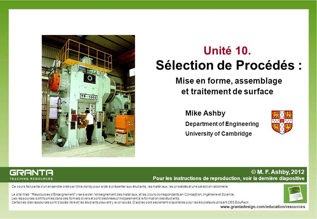Unité 10. Sélection de Procédés : Mise en forme, assemblage et traitement de surface