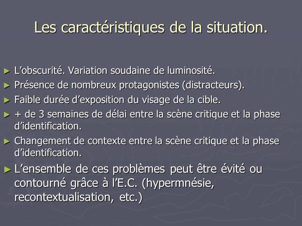 Les caractéristiques de la situation.