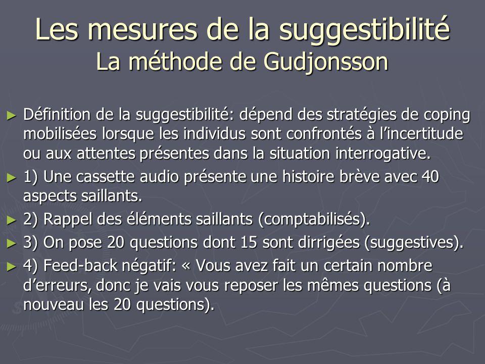 Les mesures de la suggestibilité La méthode de Gudjonsson