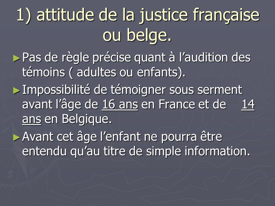 1) attitude de la justice française ou belge.