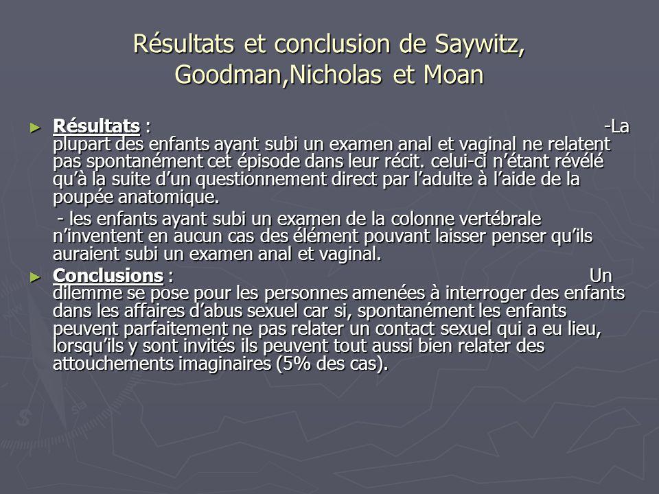 Résultats et conclusion de Saywitz, Goodman,Nicholas et Moan