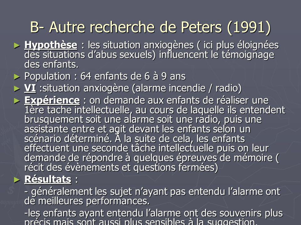 B- Autre recherche de Peters (1991)