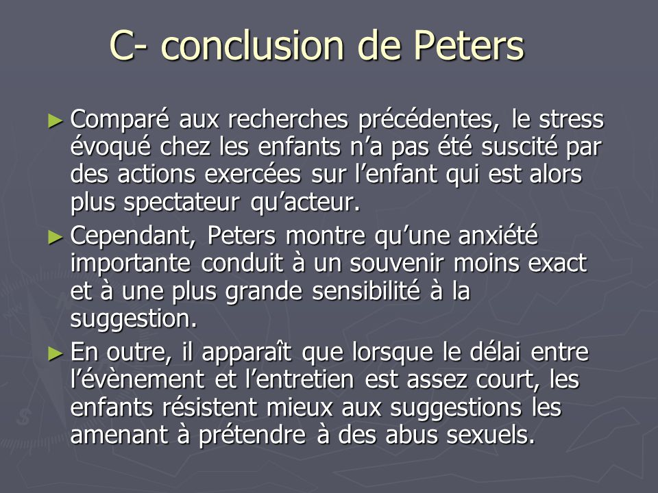 C- conclusion de Peters