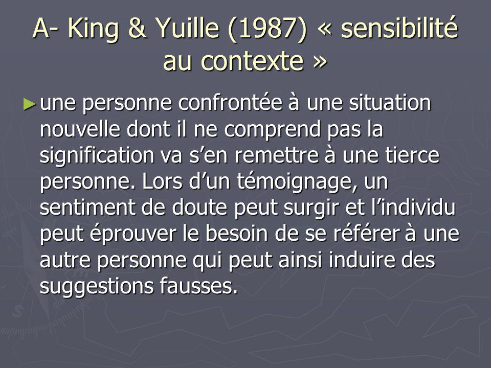 A- King & Yuille (1987) « sensibilité au contexte »