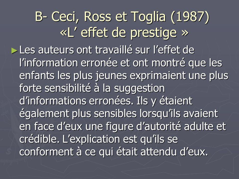 B- Ceci, Ross et Toglia (1987) «L' effet de prestige »