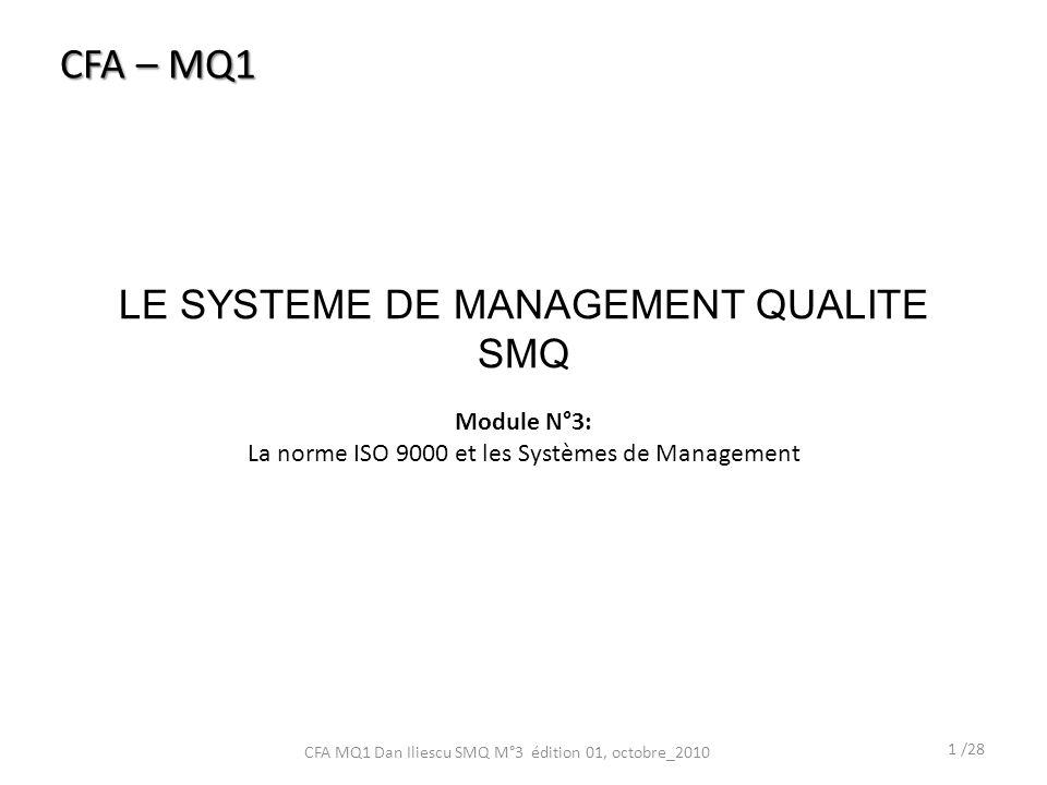 LE SYSTEME DE MANAGEMENT QUALITE SMQ