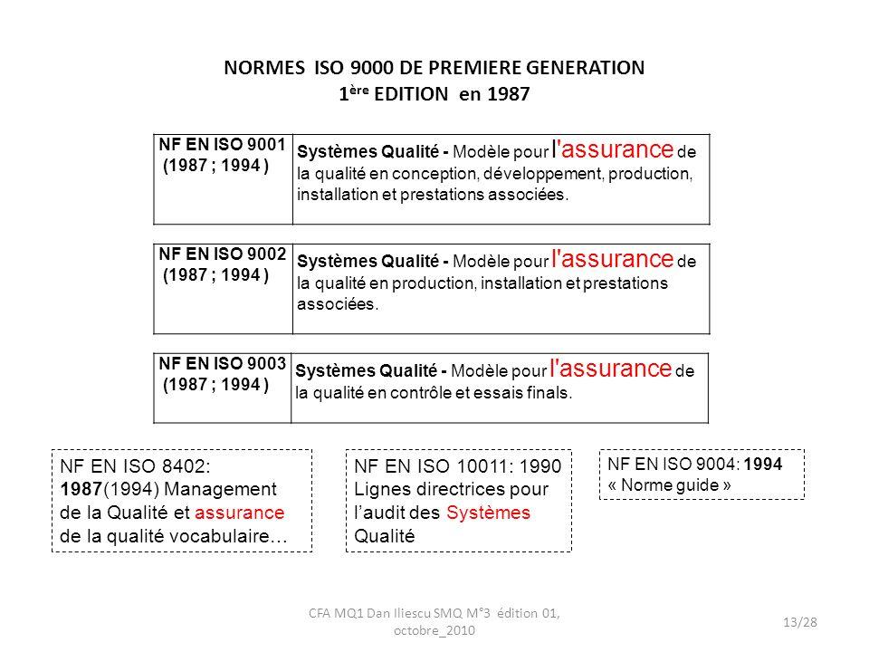 NORMES ISO 9000 DE PREMIERE GENERATION 1ère EDITION en 1987