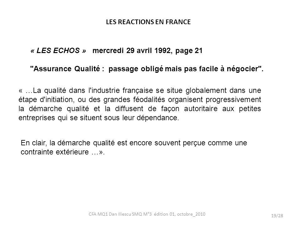 LES REACTIONS EN FRANCE