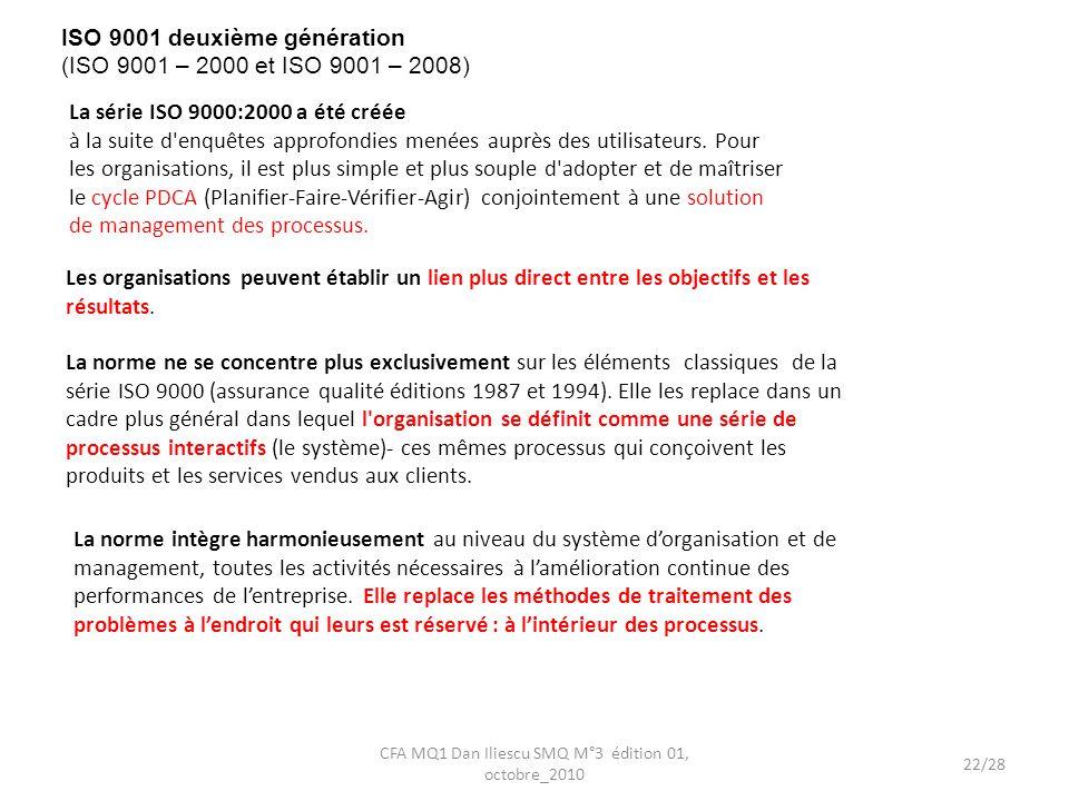 ISO 9001 deuxième génération (ISO 9001 – 2000 et ISO 9001 – 2008)