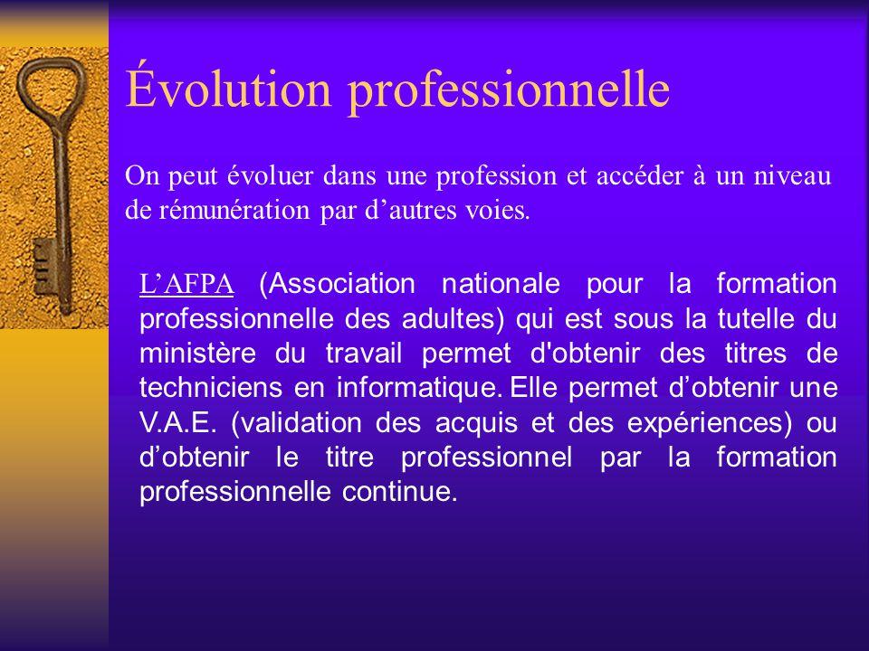Évolution professionnelle