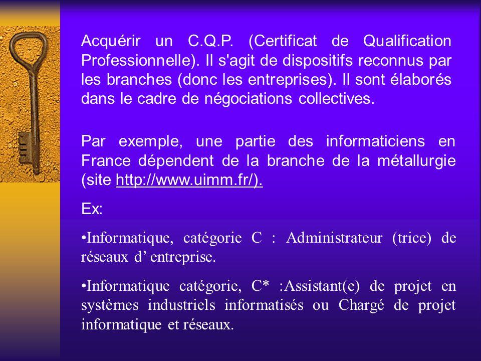 Acquérir un C. Q. P. (Certificat de Qualification Professionnelle)