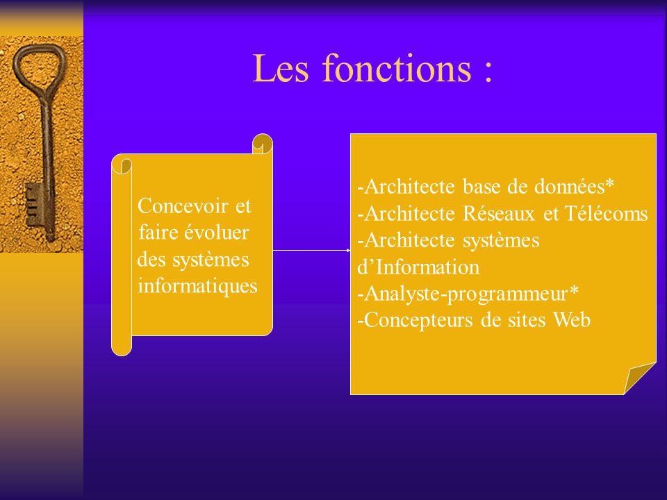 Les fonctions : -Architecte base de données* Concevoir et